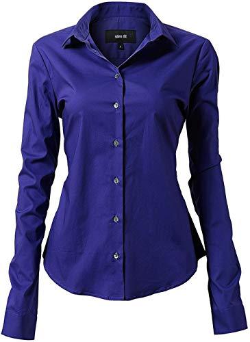 Stretch-baumwolle Hemd (INFLATION Damen Hemd mit Knöpfen Baumwolle Bluse Langarmshirt Figurbetonte Hemdbluse Business Oberteil Arbeithemden Blau 43/16)