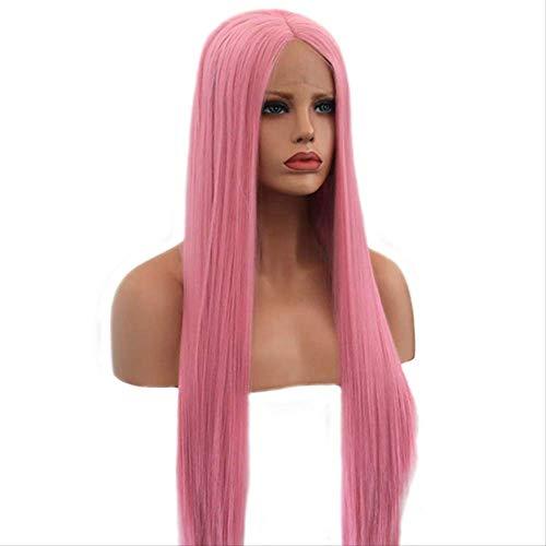 Perücke Gerade Haar Perücke Spitze Natürliche Haarlinie Rosa Faser Synthetische Perücke Frau 22 Zoll rosa (Up Und Weiß-thema Schwarz Dress)