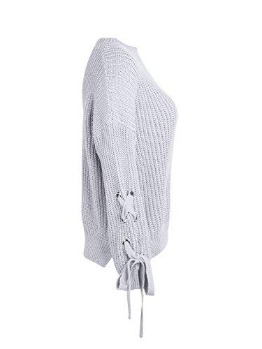 Simplee Apparel Damen Sweater Casual Loose Langarm Lace up Strickpullover Oberteil Grau
