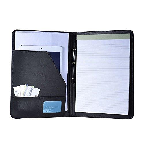 aibecy A4Ordner Größe Multifunktionale Brieftasche, Dokument Angelegenheiten Leder mit Standfunktion, PU-Visitenkarte/Memoboard/Noten (Schwarzes Leder-umschlag)