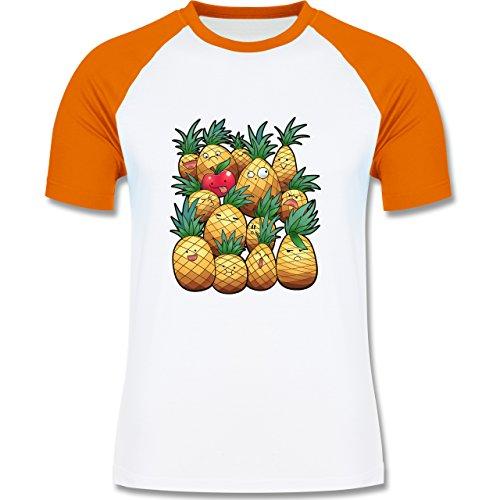 Comic Shirts - Süße Ananas Party - zweifarbiges Baseballshirt für Männer  Weiß/Orange