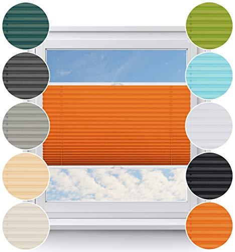 Rollo Studio Thermo Fenster Plissee auf Maß, ohne Bohren mit Neu Klemmfix Smartfix Jalousie System, Viele Größen und Farben, für alle Fenster, Verdunkelungsplissee, Fensterrollos, Orange