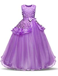 NNJXD Girls Sleeveless Embroidery Princess Pageant Dresses Prom Ball Gown for 5-14 Years