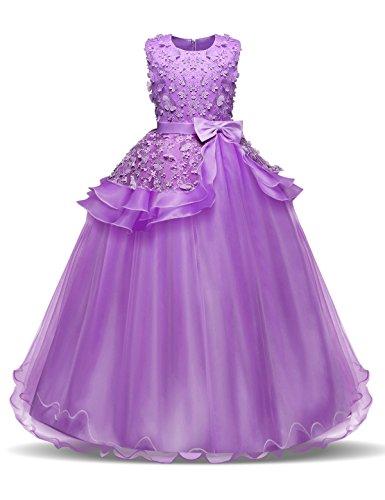 NNJXD Madchen Armellos Stickerei Prinzessin Festzug Kleider Abschlussball Ballkleid, Lila, 7-8 Jahre / Herstellergröße: 130
