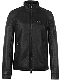 Firetrap Mens Blackseal PU Bomber Jacket Leather Coat Top High Neck Zip Chest