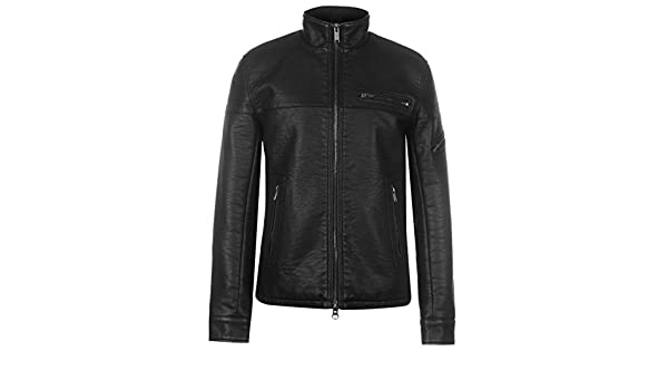 Firetrap PU Jacket Mens Gents Leather Coat Top Zip Zipped