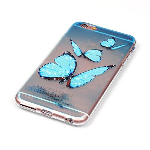 BONROY® Coque pour iPhone 6 6S (4,7 Zoll),Housse en cuir pour iPhone 6 6S (4,7 Zoll),imprimé étui en cuir PU Cuir Flip Magnétique Portefeuille Etui Housse de Protection Coque Étui Case Cover avec Stan Trois Blue Butterfly