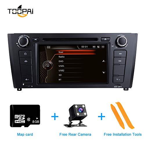Autoradio Stereo, ZLTOOPAI für BMW E81 E82 E87 E88 1 Series 7-Zoll-Multi-Touchscreen-Autoradio GPS-Radio DVD-Player mit kostenloser Kartenkarte Rückfahrkamera Removal Tools