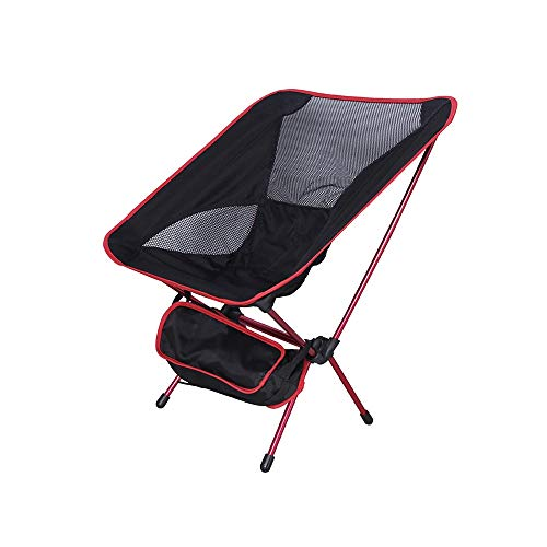 YINGYING Outdoor Aluminium Klappstuhl Ultra Light Moon Stuhl Freizeit Strand Stuhl Tragbaren Stuhl Oxford Tuch Stuhl Camping Stuhl (Color : Red) Bungee Oxford