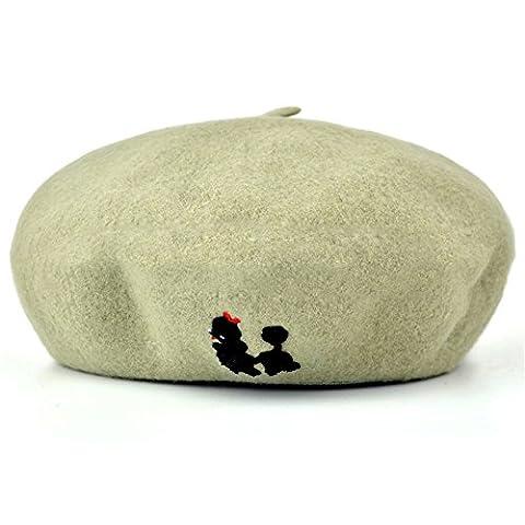 Women Girls Fashion Autumn Winter Embroidery Little Dog Beret Hat Cap Kelly
