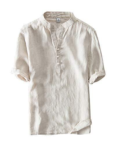Herren Shirt Halbe Hülse Henley Hemd Leinen T-Shirt V-Ausschnitt Kaki XXL