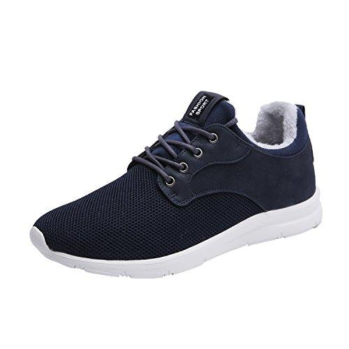 Maylen Hughes Uomo Donna addestratori correnti Casual Scarpe stringate Light Weight piedi scarpe da ginnastica di sport Blu (con pelliccia)