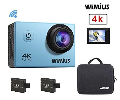 Galleria fotografica Wimius Action Cam 4K WIFI WebCamera Full HD 1080P 16MP Impermeabile Sport Camera 170 ° Grandangolare 2.0 Schermo LCD con Vari Accessori, Cubo di Imballaggio(Blu)