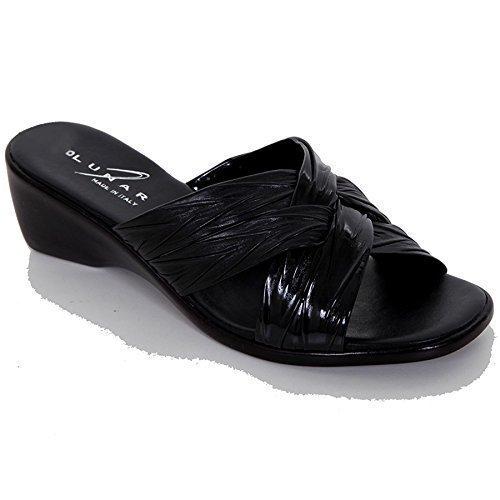 FANTASIA BOUTIQUE Damen Kreuz-riemen Ohne Bügel Kleiner Keilabsatz Bequem Damen Mode Sandalen Schuhe Schwarz