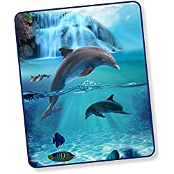 Good Morning! Wohndecke Kuscheldecke 5586 Will Delfin Meer Blau 130 cm x 160 cm