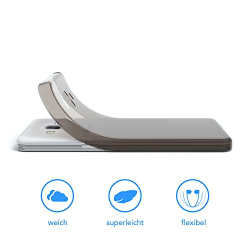 Samsung Galaxy Grand Prime Hülle - EAZY CASE Ultra Slim Cover Handyhülle - dünne Schutzhülle aus Silikon in Transparent Clear Schwarz / Anthrazit