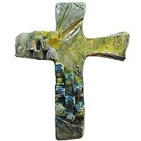 crocifisso in ceramica realizzato e dipinto a mano firmato ITALDESIGN FOGLIARON°C000005