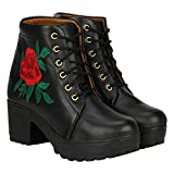 Commander and Casual Chukka Rose Embroidery Boots for Girls and Women (805J)