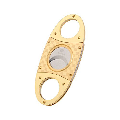 OEM Cigar Cutter Stainless Steel Double Blade Guillotine Scissors Pocket Size Smoke Knife RAC801A (Gold) -