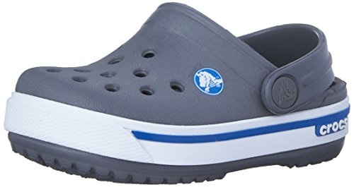 Crocs Crocband II.5 Clog Kids, Unisex - Kinder Clogs, Grau (Charcoal/Sea Blue), 32-33 EU (Spirit Easy Komfort-schuhe)
