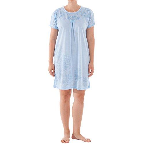 Romesa Damen Nachthtemd mit breiten Trägern, Trägernachthemd mit Blumen Dessin, Größe:XL;Farbe:Hellblau