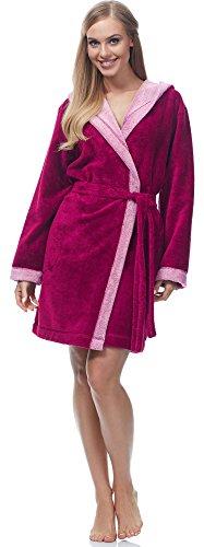Merry Style Damen Bambusfasern Bademantel MSLL1002 Amaranth/Rosa