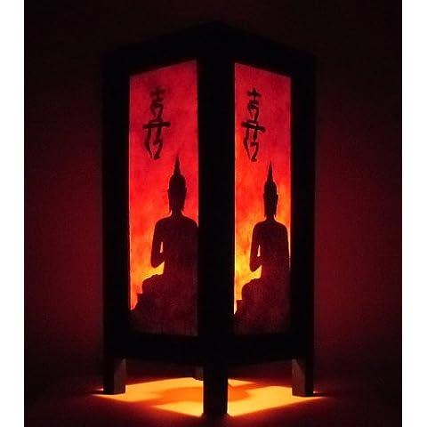 Raros Asiáticos Tailandés Lámpara De Cabecera Tabla Buddha Estilo Naranja Negro Buda En