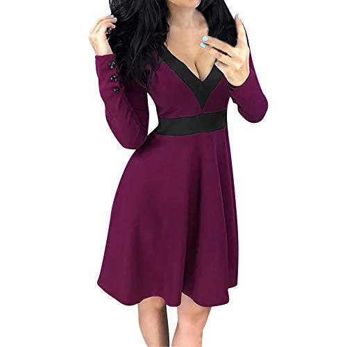 Langarm Damen Sunday Sexy mit V-Ausschnitt Kleid Body Shape Abend Party Kleider (S, Weinrot) -