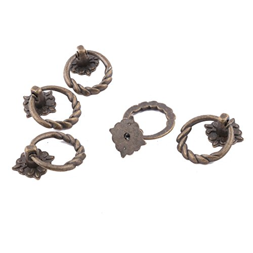 Preisvergleich Produktbild sourcingmap 5 Stk Haushalt Metall Runder Ring Tür Schrank Griff Bronze Ton