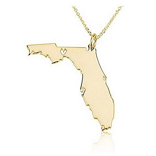 laofu State Halskette Florida State Charm Halskette 18K Gold Vergoldet Halskette mit einem Herz (Florida-halskette)