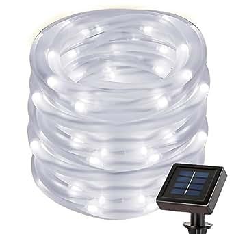 le 7m guirlande tube lumineux solaire tanche lumi re blanc froid avec panneau solaire eclairage. Black Bedroom Furniture Sets. Home Design Ideas