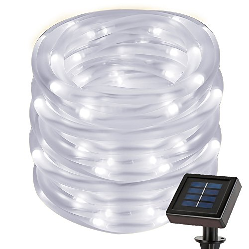 LE 5M 50LEDs Solar Lichtschlauch, Wasserdicht, mit Lichtsensor, Kaltweiß 6000K, Außenlichterkette, Weihnachtsbeleuchtung, Beleuchtung für Hochzeit, Party