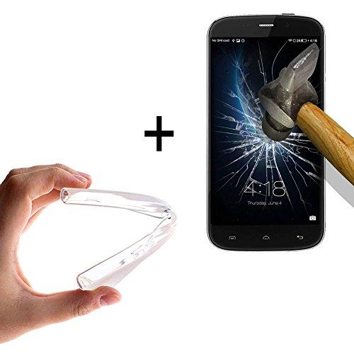 WoowCase - [ Doogee Nova Y100X Schutzhülle Silikon Transparent [ +1 Schutzglas ] 9H Panzerglas Bildschirm Schutzfolie, Hülle Case TPU