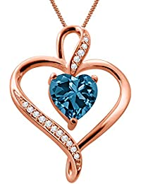 Silver Dew 925 Pure Silver Rose Gold Plated CZ Diamond Blue Topaz Double Heart Ladies & Women's Pendant
