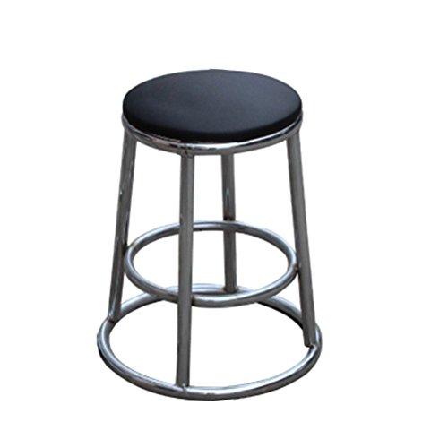 Stool Health UK Hocker Loft Retro Runde Blau Eisen Rahmen Sitz Kreative Sofa Bar Stuhl Cafe Shop Dekorative Hocker Ohne Rückenlehne 45 cm Welcome (Farbe : Schwarz)
