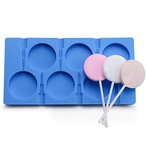 Silikonform für 6 Lutscher, zum Selbermachen von Zucker- und Schokoladen-Lutschern, lebensmittelechtes Silikon, Form für Wassereis, Seife, Kuchen, Form mit 50Lutscher-Stäbchen blau