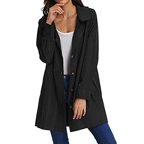 JYJM Damen Windbreaker Jacke Damen Strickjacket mit Kapuze Cardigan Lang Schwarz Mantel Trenchcoat Herbst Oberteile Kapuzenjacke Frauen Lange Hülsen Knopf öffnen Stich Mantel Jacken Wolljacke Baseball Nylon Pullover
