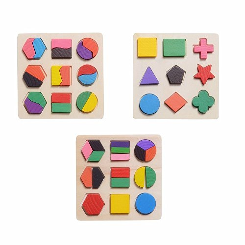 Jigsaw Puzzle - Colorful Wooden Geometric Shape Puzzle - Early Development Learning Educational Puzzles Gift for Kids by Shuban - Assorted Design