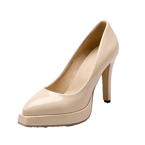AgooLar Femme Pu Cuir Tire Couleur Unie Pointu à Talon Haut Chaussures Légeres Abricot