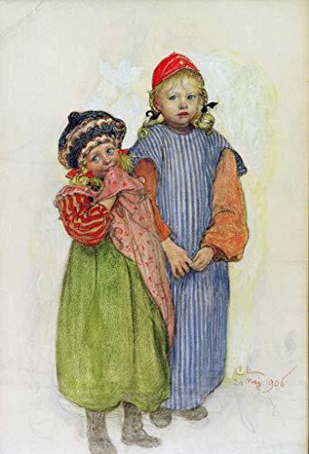 Kunstdruck/Poster: Carl Larsson Tischler Hellbergs Kinder - hochwertiger Druck, Bild, Kunstposter, 55x80 cm -