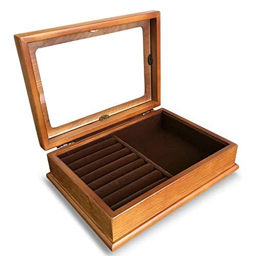 Kosmetische Organisatoren Holz Schmuckschatulle Retro Single Layer Holz Ring Europäischen Lagerung Geschenk 193 * 268mm (farbe: B) -