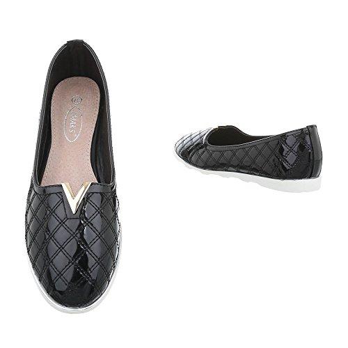 Ital-Design Chaussures Femme Mocassins Plat Slippers noir J15A