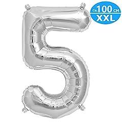 Idea Regalo - FUNXGO XXL Palloncino Numero [circa 100 cm], Palloncino in argento [0~9] (Argento[ 5 ])