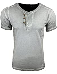 Herren T-Shirt Blau Grau Anthrazit bedruckt mit Motiv und Knöpfe A1-RN15029