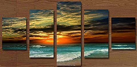 OBELLA New Top Wall Art Canvas Prints 5 Pieces || Sunset Sea Wave || Modern Contemporary Posters Oil Paintings Prints and Pictures Photo Image Wall Art Prints on Canvas Painting for Home Bedroom Living Room Wall Decor Christmas Gifts Decoration - Frameless