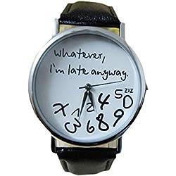 """Sunnywill Leder schwarz Frauen Uhr """"Was auch immer ich bin zu spät sowieso"""" Brief-Uhren für Damen und Mädchen"""