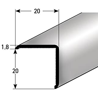 Aluminium corner protection profile; 100/20x 20m; self-adhesive; made in Germany; triple-edged, without point; angled, angle strip edge protection & corner protection rail for walls, corner pieces for edges