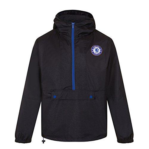 Chelsea FC - Herren Wind- und Regenjacke - Offizielles Merchandise - Geschenk für Fußballfans - Schwarz/Halber Reißverschluss - L