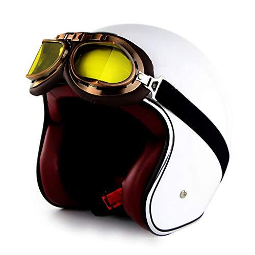 HAOHOAWU Motorradhelm, Motor Motorrad-Sturzhelm UV-Schutz Visier Sonnenbrillen Vintage Style Männer Frauen Elektrischer Helm bequem und atmungsaktiv,White,XL