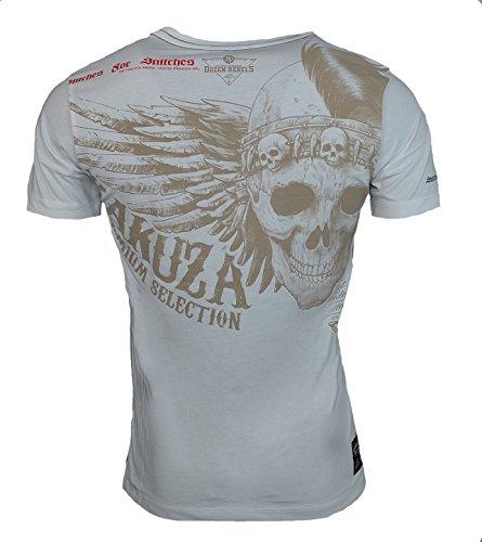 Yakuza Premium Herren T-Shirt YPS 2407 BURNING REBLES BLACK Weiß